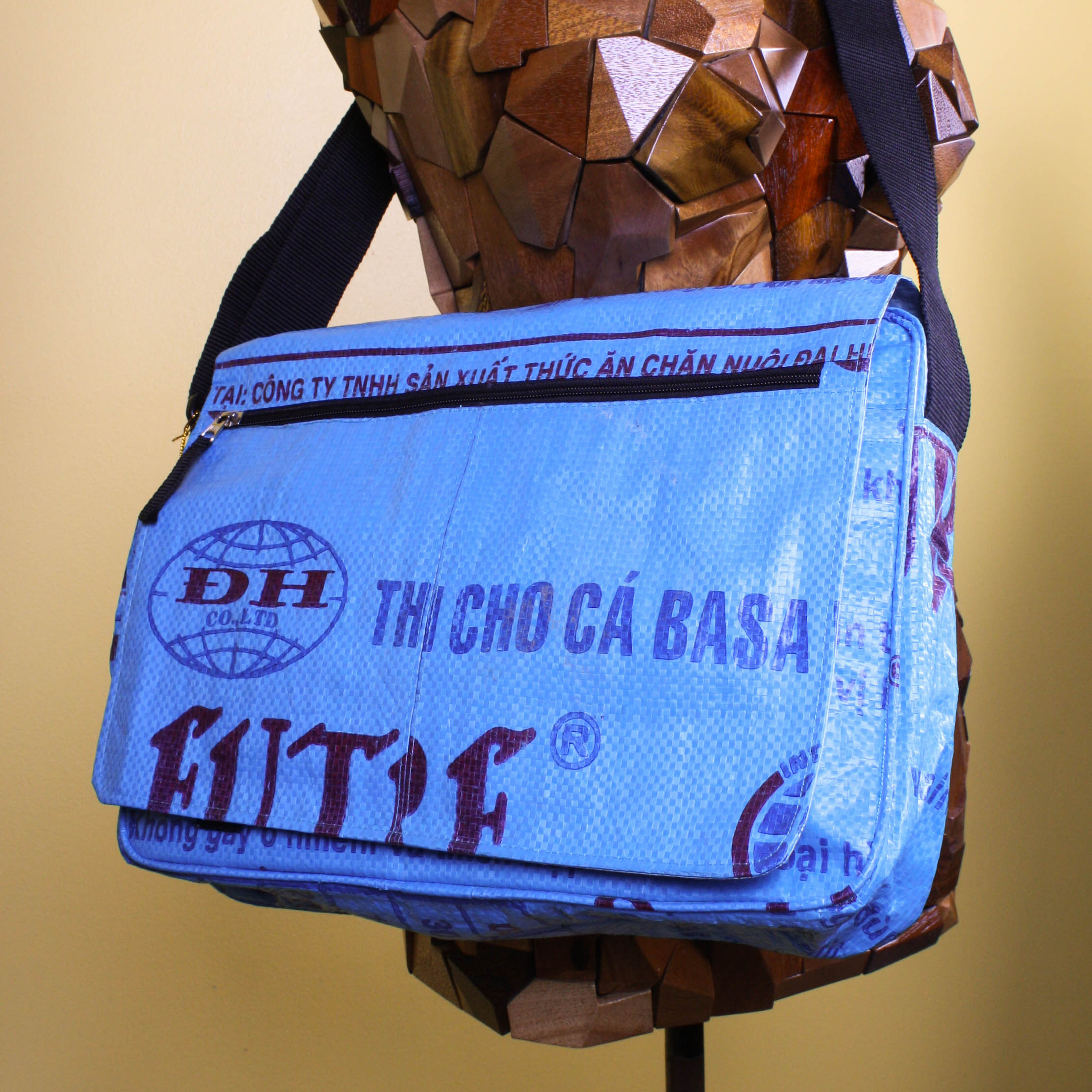 2602df830d9d Blue Recycled Messenger Bag   Handmade from Rice Bag – KAMBUJA FASHIONS